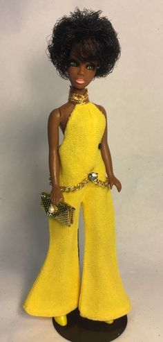 Vintage Topper Dawn Doll Dale/H119 In Petite Yellow Jumpsuit w/Accessories