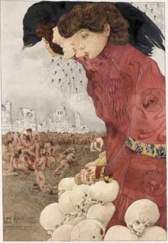 gothic surreal art watercolour painting Mossa, Gustave, (1883-1971), Les Sphynges, 1906, Watercolour