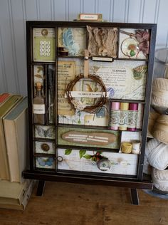 Shadowbox Tray - I love this! ...  I'd love to have a cabinet with maybe ... anywhere from 4 to 12 tray-drawers and do one for each season ... or  ... each month - wouldn't that be fun??  ...  Now where can I get such a cabinet?