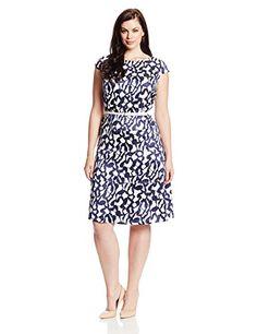 Fashion Bug Womens Plus Size Printed Reflection Jacquard Swing Dress. www.fashionbug.us #curvy #plussize #FashionBug