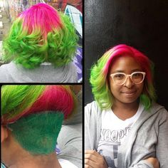 Not only is watermelon the best fruit for summertime, but it also makes one kick ass hairstyle! @tt_x_hair, who works at our fav @VainBeautyWorld, used multiple Manic Panic shades for this great color combo. Cleo Rose was used at the roots, Electric Lizard and Green Envy were applied at the ends, and the shaved underside was dyed with Sirens Song. Just remember that colors this vivid cannot be attained without bleaching