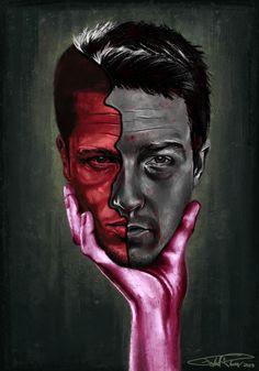 """Fight Club Two-Face"" - Illustration by Frederik... | Frederik Plesner"