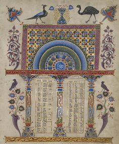 Canon Table Page, 1256, T'oros Roslin. The J. Paul Getty Museum. Gift of the Catholicosate of the Great House of Cilicia