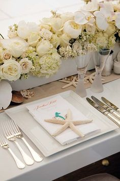 Beach Wedding Table Starfish Settings, 2014 Beach Wedding Table decor www.loveitsomuch.com
