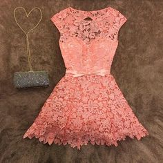 Cheap prom dresses, Buy Quality lace prom dress directly from China lace prom Suppliers: Sexy Short Coral Lace Prom Dresses with Cap Sleeves Chic Mini Length Prom Gowns For Party Sheer Neck Homecoming Dresses Grad Dresses, Homecoming Dresses, Short Dresses, Little Dresses, Pretty Dresses, Coral Lace, Mini Vestidos, Party Gowns, Dress To Impress