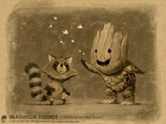 imthenic:  Baby Groot and Rocket by imaginism