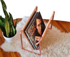 Copper & Vinyl Record - Magazine Rack - Magazine Holder - Minimal - Modern Magazine - Store Display by LisaMTerry on Etsy https://www.etsy.com/listing/264258916/copper-vinyl-record-magazine-rack
