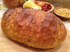 kenyér sárgaborsópürével, házi kenyér, kenyér recept, Kocsis Hajnalka receptje, www.mokuslekvar.hu Naan, Baked Potato, Potatoes, Bread, Baking, Ethnic Recipes, Food, Drink, Beverage