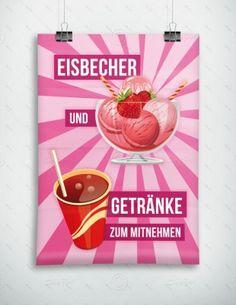 Eisbecher und Getränke zum mitnehmen - Werbeplakat - Poster, P-FP-0029 | Gastronomie | Plakate | Werbedesigns | Despri