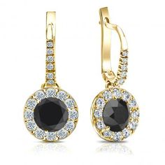 Certified 14k Yellow Gold Dangle Studs Halo Round Black Diamond Stud Earrings 3.00 ct. tw.