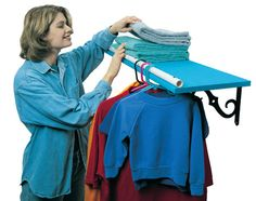 Turn a shelf into a clothes hanger rack