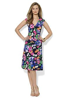 Lauren Ralph Lauren Cap-Sleeve Floral-Print A-Line Dress - Dresses - Women  - Macy's