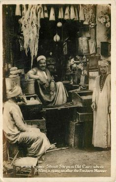 """Postcard No. 424: """"CAIRO - Street Shops in Old Cairo where Trading is going on after the Eastern Manner"""""""
