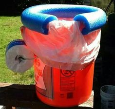 Easy Toilet! Supplies: 5 gal paint bucket, trash bag, pool noodle, roll of TP. No more late night trips through the woods.