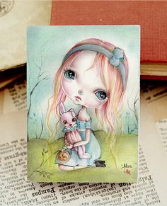 Miniature woodblockfrom my original artwork. by ppinkydollsart