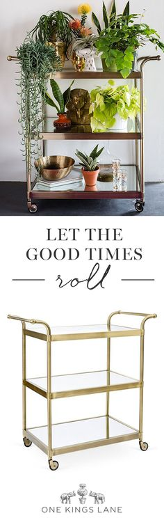 A throwback to simpler times, the bar cart is that chic and useful piece that's just as at home in a city flat as it is a country retreat. Stock it with bar basics, style it with artful curios and books, and move it about any place you please! No matter what your decor, One Kings Lane has the bar cart to match.