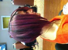 Purple hair razored bob