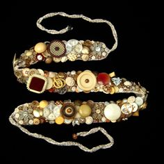 ButtonArtMuseum.com - Vintage Button Bead Encrusted Belt Statement Piece Wearable Art Danusha Mudroch