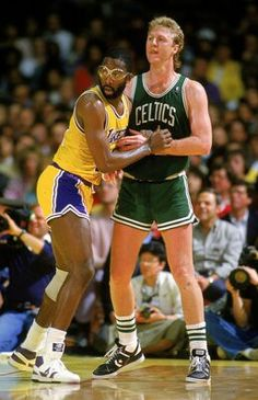 James Worthy (Los Angeles Lakers) and Larry Bird
