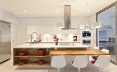 cozinha, branco, madeira, clean Apartment Kitchen, Home Decor Kitchen, Kitchen Interior, Home Kitchens, Hidden Kitchen, Open Plan Kitchen, Kitchen Island Table, Kitchen Dining, Kitchen Cupboard Doors