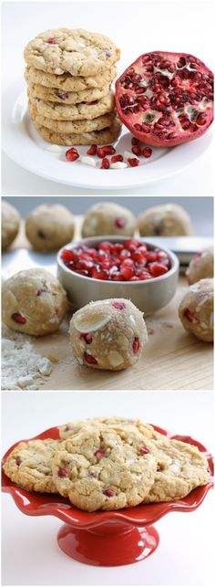 Pomegranate White Chocolate Chunk Cookies Recipe on twopeasandtheirpod.com LOVE these cookies! They are festive too!