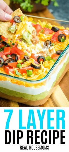 7 Layer Dip is easy to make crowd favorite that's packed full of flavor. Always a hit at parties it covers all the best ingredients you cannot go wrong! Easy Appetizer Recipes, Appetizer Dips, Appetizers For Party, Mexican Appetizers, Dinner Recipes, Mexican Dip Recipes, 7 Layer Dip Recipe, Seven Layer Dip, 7 Layer Bean Dip
