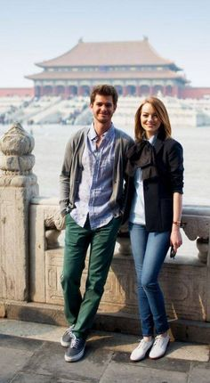 Top 10 Emma Stone and Andrew Garfield Fashion-Friendly Looks Emma Stone Andrew Garfield, Fashion Couple, Online Collections, Celebs, Celebrities, To My Future Husband, Bomber Jacket, Actors, People