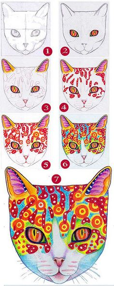 How to Draw a Cat.  Things to learn from it: Dots, Lines, Colours & Textures/ How to draw a cat.