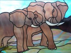 Stained glass elephants panel