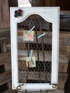 "Measures, 16""W x 28""H"" - This shabby chic message chicken wire frame"