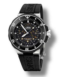 Oris ProDiver Pointer Moon, the first mechanical watch that indicates both the lunar cycle and tidal range.