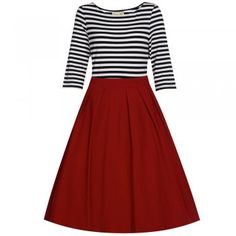 'Josefine' White Black Red Swing Dress. Stylist: love the color contrast and a-line skirt. I don't think boat neck would flatter