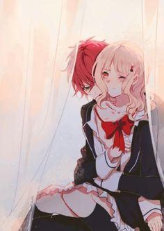 Diabolik Lovers (More Blood)- Ayato x Yui ディアラバ (ディアボリックラヴァーズ) Vampire Love, Vampire Art, Vampire Knight, Diabolik Lovers Ayato, Ayato Sakamaki, Anime Kiss, Manga Anime, Anime Art, Anime Love Couple