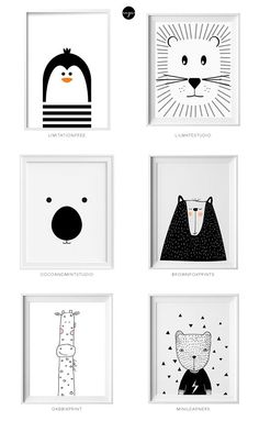 Black and white kids art from Etsy Schwarzweiss-Kinderkunst von Etsy Little flea interiors // kids homewear