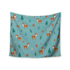 "Cristina bianco Design ""Cute Deer Pattern"" Teal Kids Wall Tapestry"