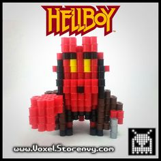 Hellboy red 3d voxel perlerbead (hellboy)