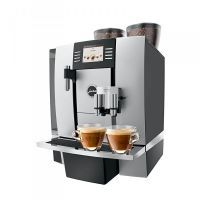 """TFT Screen, Unique 1 or 2 cups One-Touch-Cappuccino and Latte Macchiato System: """"Never move the cup""""; Makes Authentic Cappuccino & Latte Macchiato with the push of a button! Two ThermoBlock Systems, Height adjustable Coffee/Cappuccino spout, gall Jura Coffee Machine, Espresso Coffee Machine, Espresso Maker, Coffee Maker, Coffee Shops, Cappuccino Maker, Professional Coffee Machine, Machine A Cafe Expresso, Commercial Coffee Machines"""