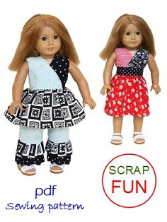 18 inch doll clothes sewing patterns to download - Scrap Fun $4.99