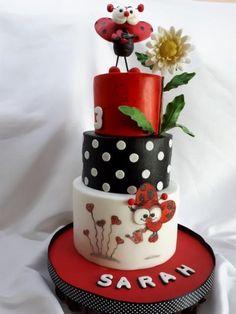 birthday with ladybird - cake by Kaliss Ladybug Cakes, Owl Cakes, Baby Cakes, Cupcake Cakes, Ladybug Party, Cupcakes, Fruit Cakes, Gorgeous Cakes, Amazing Cakes