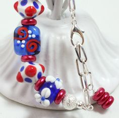 Red White and Blue Lampwork Bead Bracelet by NancysCrystalFantasi, $32.00