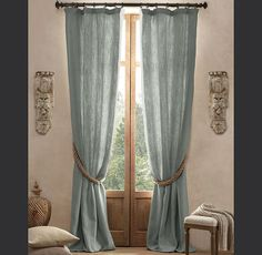 Textured Belgian Linen Drapery Restoration Hardware curtains for living room