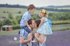 Family pose, family of four, family photography, lavender field