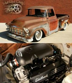 A little rustic, and In need of a paint job in my opinion, (of the chevy C10 stepside,) . I also think, the truck could be a three quarter ton pickup. It just looks like to me, like its bigger than a half ton, but I could be wrong though. Not shure on the age of the of the truck, but it shure is nice, and woud love to own it, and drive it everyday, just like it is and not ever change a thing on it, and be very, very, happy driving it everywere I go.