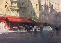 Joseph Zbukvic, Red Awning Paris 35x26cm