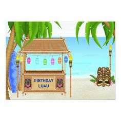Shop Luau Tropical Beach Birthday Invitation ~ Boys created by TheBeachBum. Birthday Greeting Cards, Birthday Greetings, Winter Birthday Themes, 2nd Birthday, Luau Birthday Invitations, Boys, Girls, Tropical, Hawaiian Luau