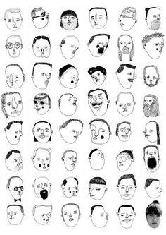 Illustration. Hanna Stenman. La tête des gens. #lafoule #visages http://hannastenman.blogspot.fr/