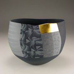 Thomas Hoadley. #787 - Small Bowl. 6x7.5x6.25 inches, colored porcelain, gold leaf