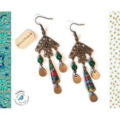 Boucles d'Oreilles Bohèmes Bronze Perles Artisanales Perles en Verre Perles en Papier Ethniques Été Gouttes Vertes Multicolores | Cap&Pap