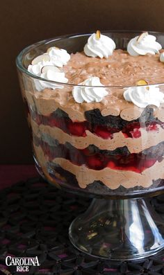 Black Forest Rice Trifle made with cherry pie filling, chocolate pudding, cream cheese.