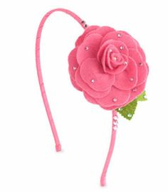 hot pink felt flower rhinestone headband - Chasing Fireflies